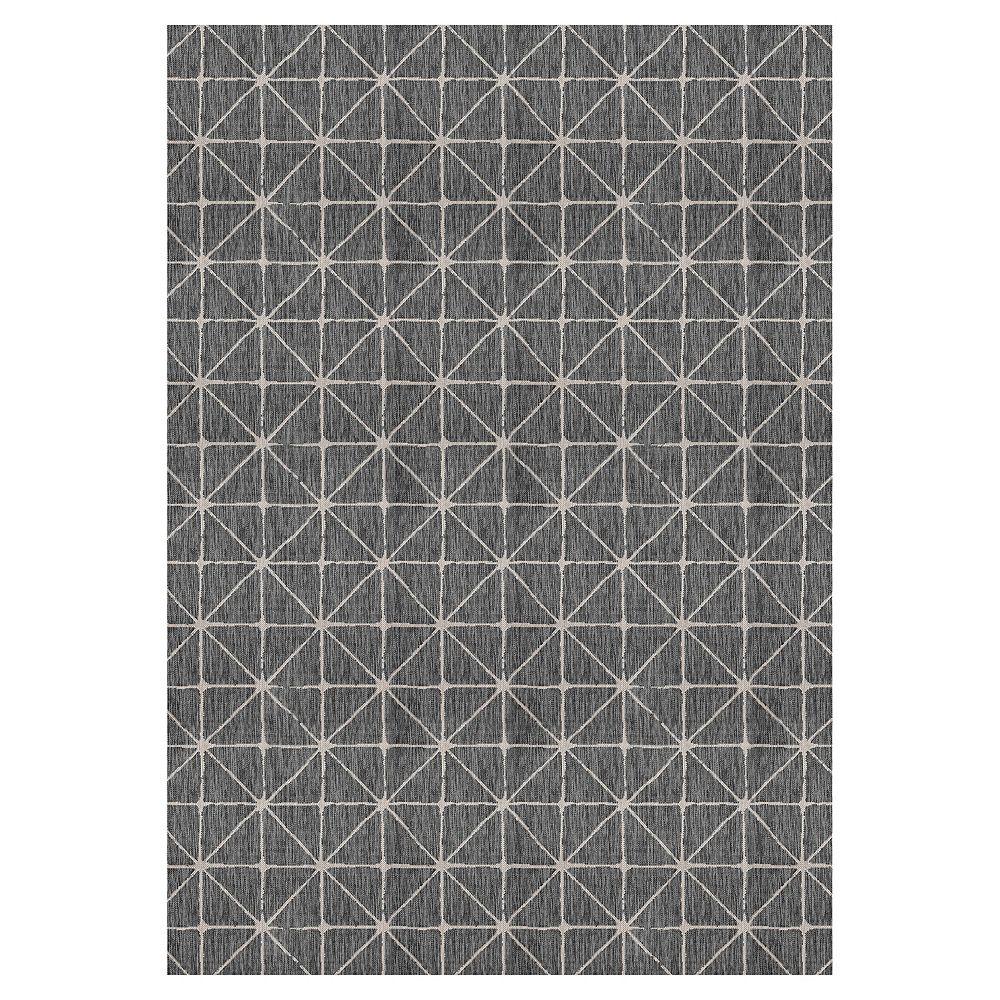 Hampton Bay Illusions Shirobi Black 7 ft. 7-inch x 10 ft. 10-inch Indoor/Outdoor Area Rug