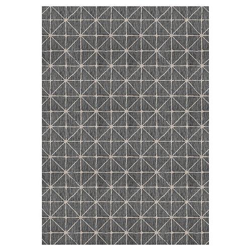 Tapis d'intérieur et d'extérieur Illusions Shirobi, 7 pi 7 po x 10 pi 10 po, noir