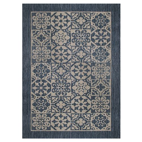 Illusions Calderon Blue 7 ft. 7-inch x 10 ft. 10-inch Indoor/Outdoor Area Rug