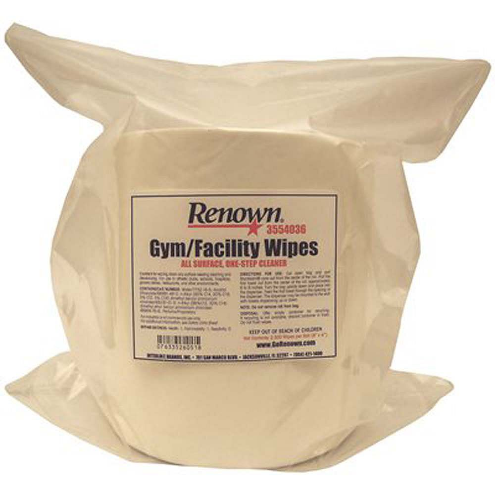 Renown All-Surface Cleaning Facility Gym Wipes, 8 In. X 5 In. (2,000 Count Packs, 2 Rolls Per Case)