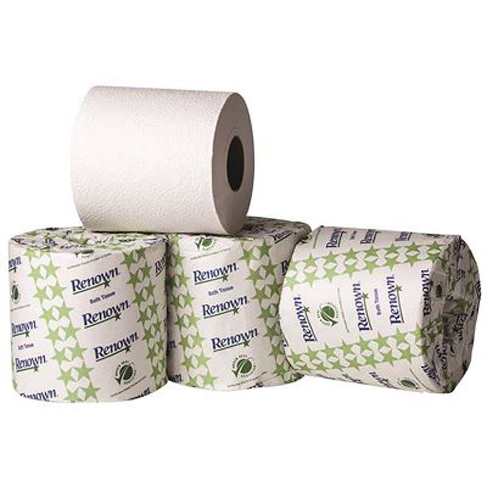 Renown Single Roll 2-Ply 4.5 inch X 3.75 inch Toilet Paper (500 Sheets Per Roll 96 Rolls Per Case)