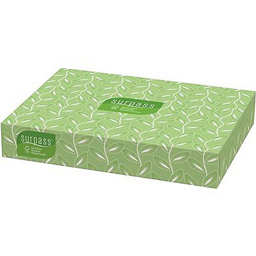 Surpass Facial Tissue Flat Box 2-Ply White Unscented (125 Tissues/Box, 60 Boxes/Big Case)