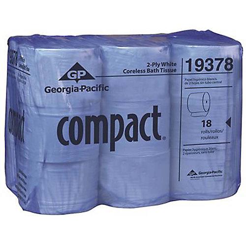 Papier Hygiénique Blanc Haute Capacité À 2Épaisseurs Sans Mandrin Compact (18Rouleaux Par Caisse)