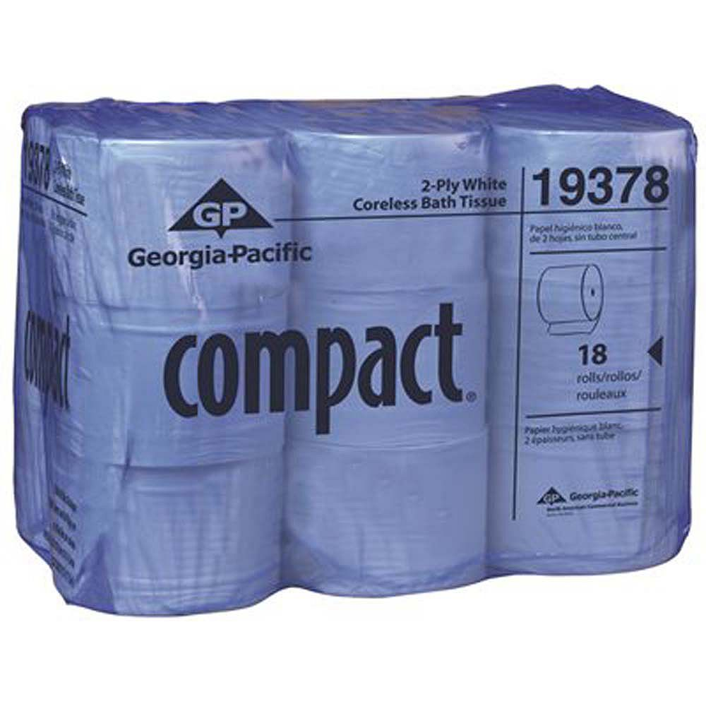 Compact White Coreless 2-Ply High Capacity Toilet Paper (18-Rolls Per Case)