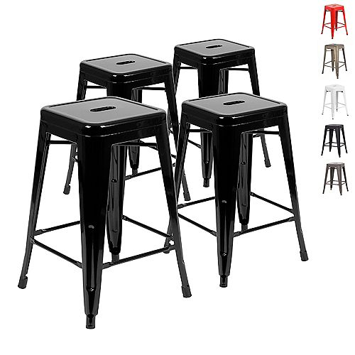 24 inch Counter Height Industrial Metal Bar Stool, Backless, Glossy Black - Set of 4