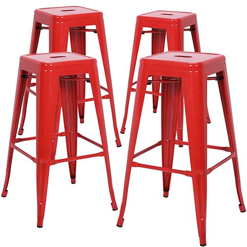 """30"""" Bar Height Industrial Tolix Metal Bar Stool, Backless, Glossy Red - Set of 4"""