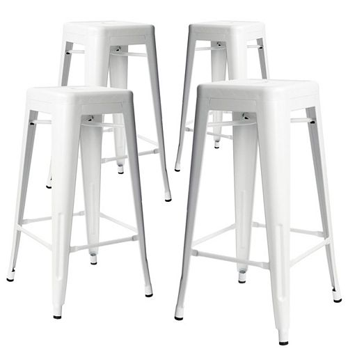 "Bronte Living 30"" Bar Height Industrial Tolix Metal Bar Stool, Backless, Glossy White - Set of 4"