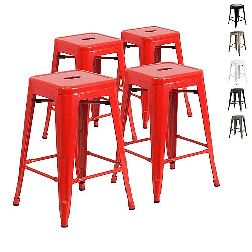 24 inch Counter Height Industrial Metal Bar Stool, Backless, Glossy Red - Set of 4