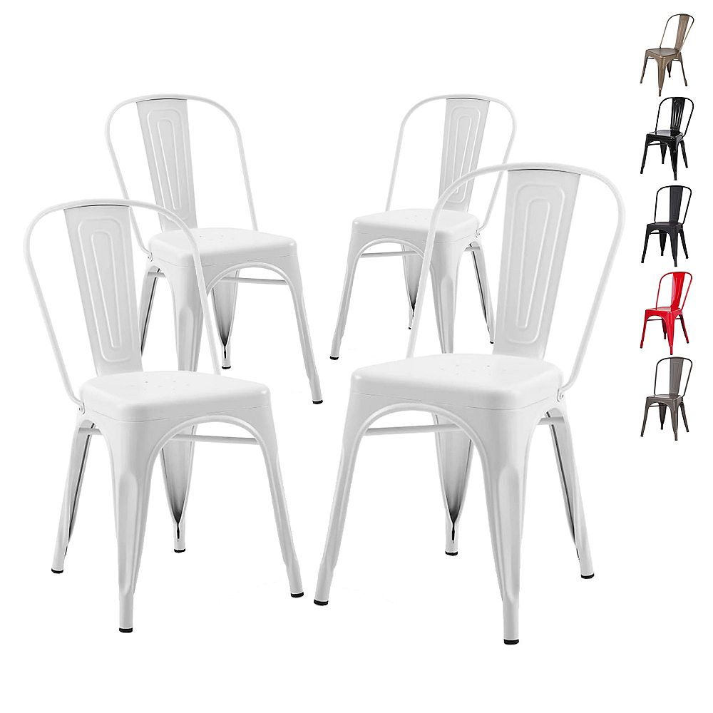 Bronte Living Industrial Metal Dining Chair with High Backrest - Glossy White- Set of 4