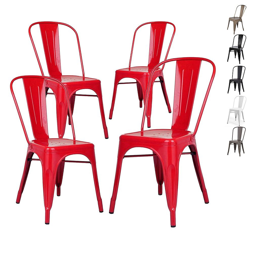 Bronte Living Industrial Metal Dining Chair with High Backrest - Red - Set of 4