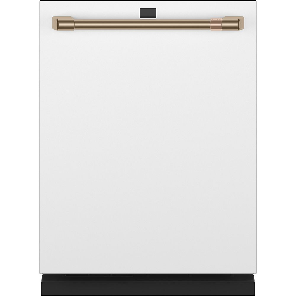 Café 24-inch Top Control Built-In Dishwasher with Stainless Steel Interior in Matte White