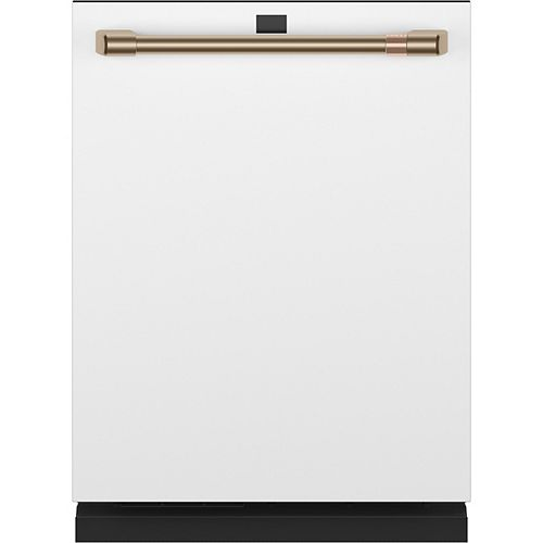 24-inch Top Control Built-In Dishwasher with Stainless Steel Interior in Matte White