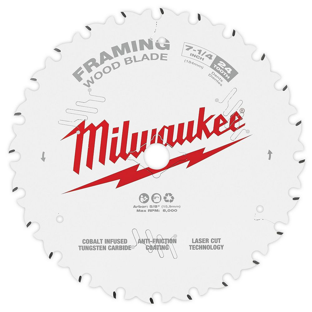 Milwaukee Tool Lame de scie circulaire au carbure de 7-1/4 pouces x 24 dents