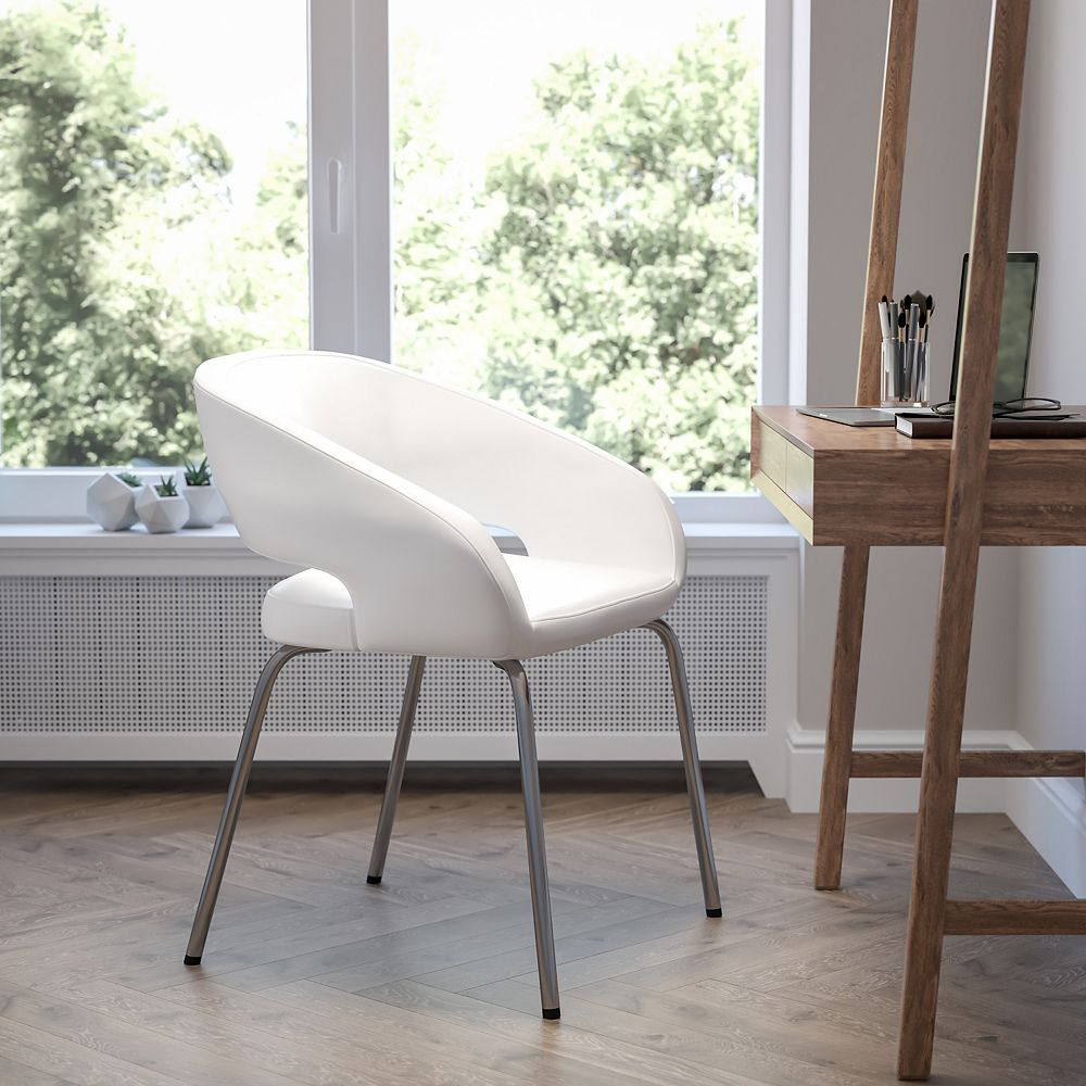 Flash Furniture Fusion Series Contemporary White Leather Side Reception Chair