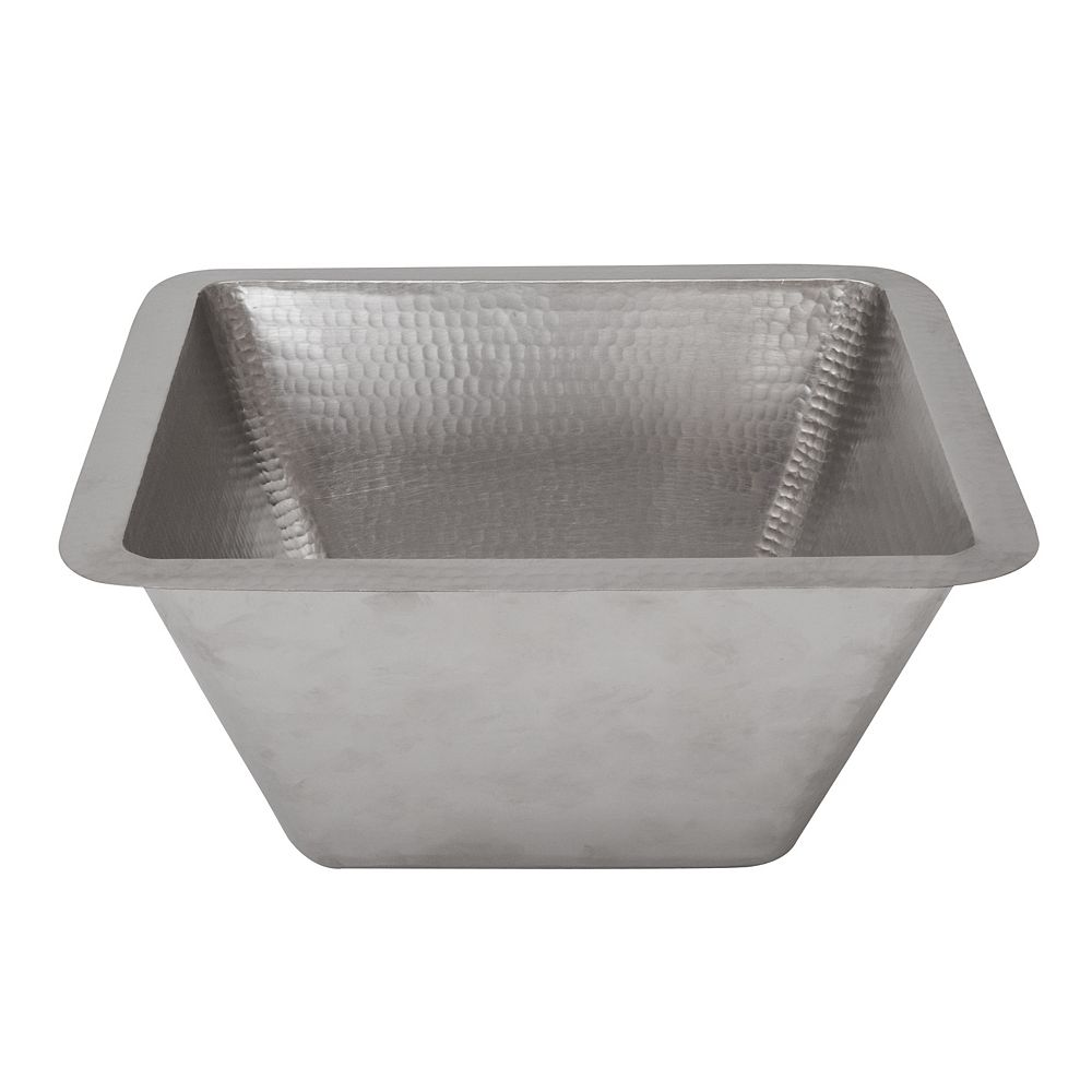 Premier Copper Products Dual Mount Square Copper 15 inch 0-Hole Single Bowl Bar Sink in Nickel with 3.5 inch Drain Size