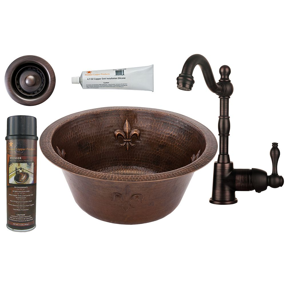 Premier Copper Products All-in-One 16 inch Round Copper Bar Sink in ORB with Fleur De Lis and 2 inch Drain Opening