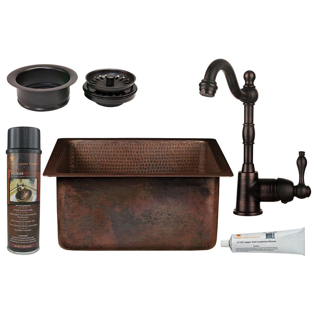 Premier Copper Products Lavabo-barrette tout-en-un en cuivre carré de 16 po dans ORB avec drain de 3,5 po-G