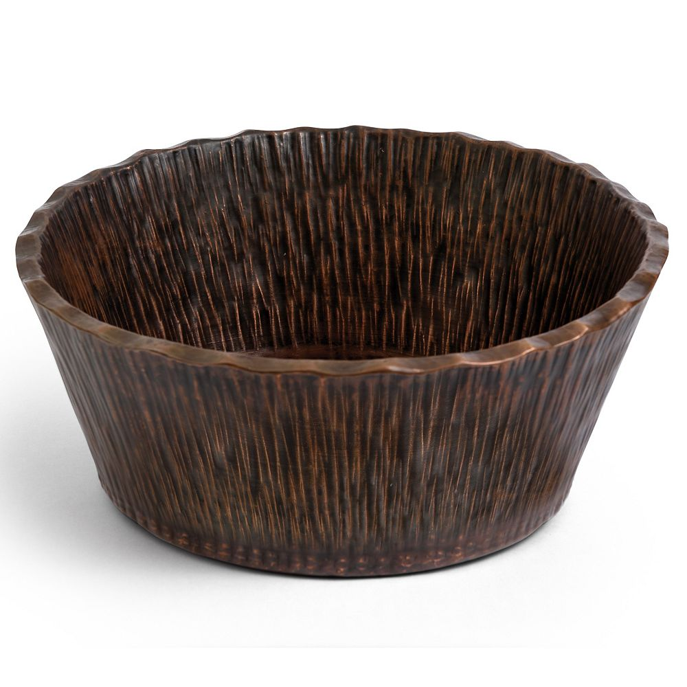Premier Copper Products Round Forest Vessel Hammered Copper Bathroom Sink in Oil Rubbed Bronze