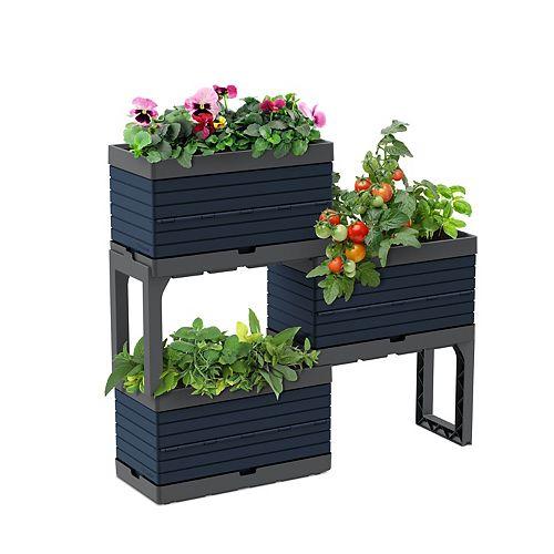 Jardin modulaire, kit 3 bacs et 2 pattes, bleu Bering Sea-Idéal pour les balcons