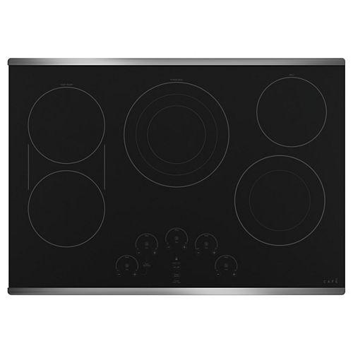 Table de cuisson électrique radiante de 30 po avec 5 éléments, y compris l'élément d'ébullition à trois anneaux en acier inoxydable