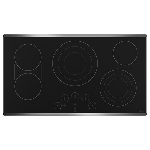Café 36-inch Radiant Electric Cooktop with 5 Elements including Tri-Ring Power Boil Element in Stainless Steel