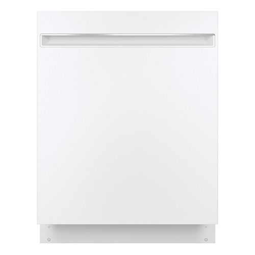 24-inch Top Control Built-in Dishwasher with Stainless Steel Interior in White