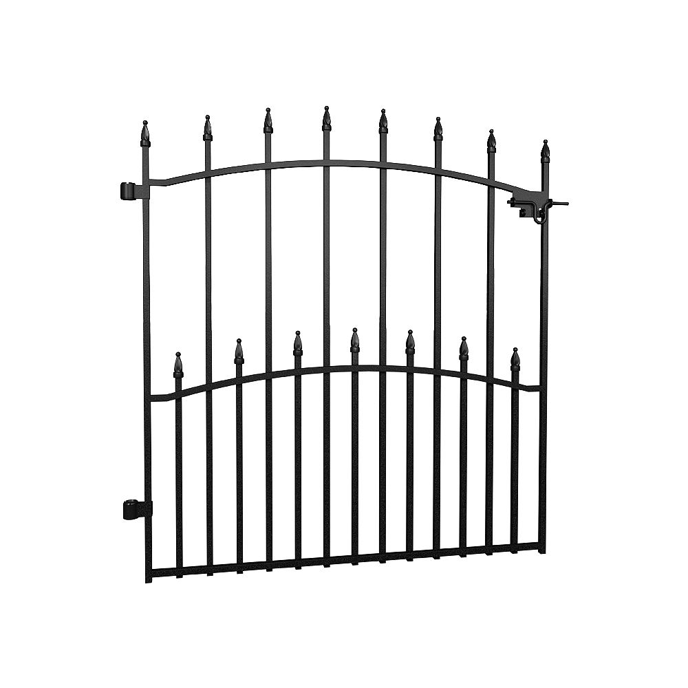 Peak Products Dig-Free Fencing 'Victoria' 33 1/2-inch W x 3 ft. H Steel Fence Gate in Black