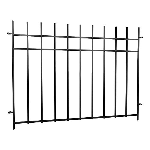Dig-Free Fencing 'Niagara' 4 ft. W x 3 ft. H Steel Fence Panel in Black