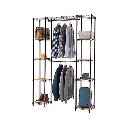 14 inch D x 78 inch W x 84 inch H Dark Bronze Expandable Wire Closet System Organizer