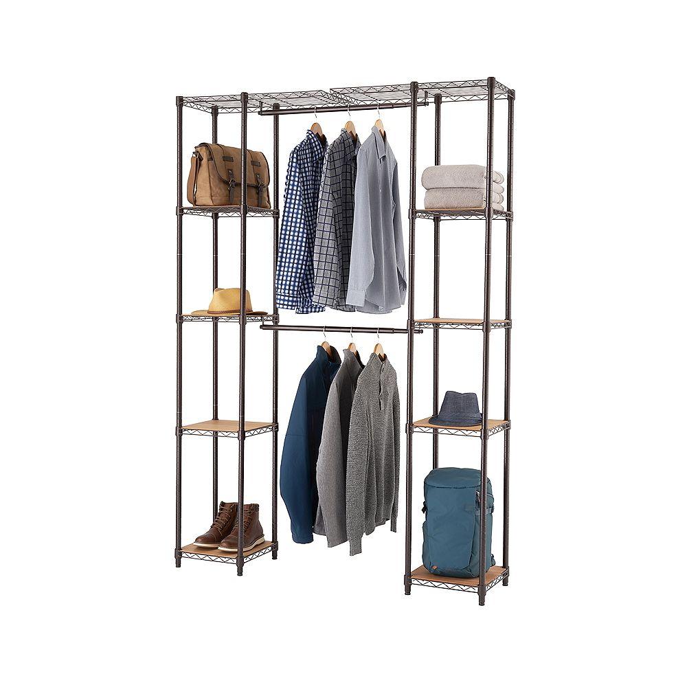 Trinity 14 inch D x 78 inch W x 84 inch H Dark Bronze Expandable Wire Closet System Organizer