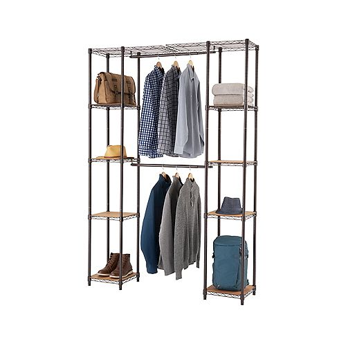 14 inch D x 78 inch W x 84 inch H Dark Bronze Expandable Wire Closet System Organizer