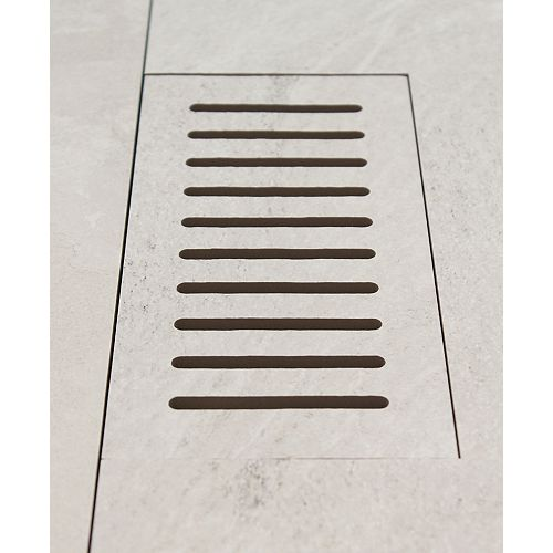 Made2Match Elaine Riverstone Off-White 5-inch x 11-inch Flush Mount Porcelain Tile Vent
