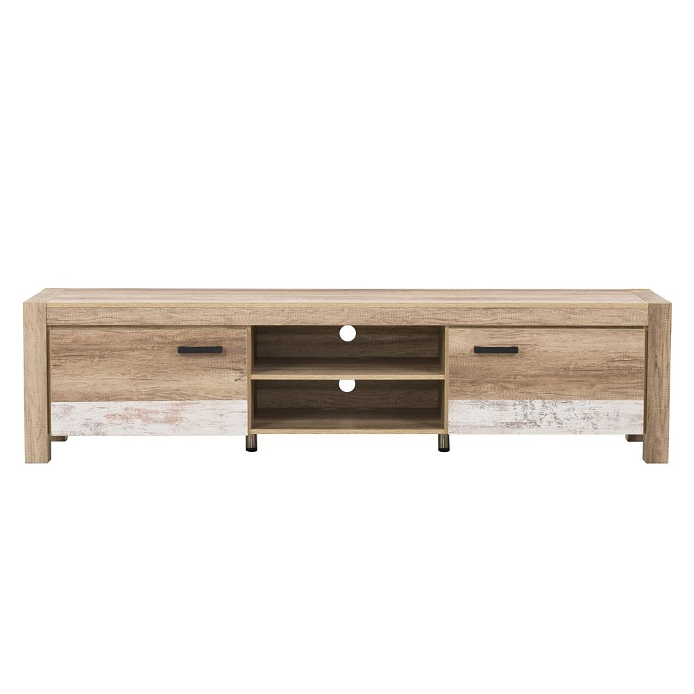 """Corliving CorLiving Distressed Warm Beige with White Duotone Chunky TV Bench for TVs up to 90"""""""