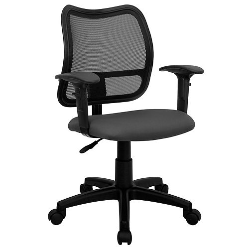 Flash Furniture Mid-Back Gray Mesh Swivel Task Office Chair with Adjustable Arms