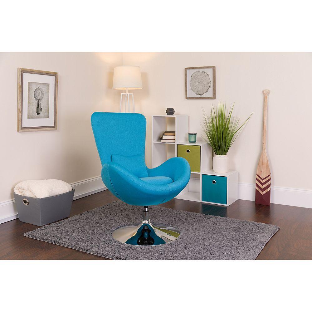 Flash Furniture Egg Series Aqua Fabric Side Reception Chair