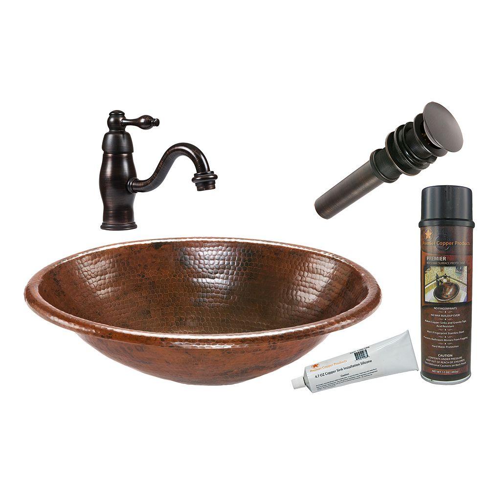Premier Copper Products Lavabo de salle de bain ovale tout-en-un en cuivre de 19 po bronze huilé-R
