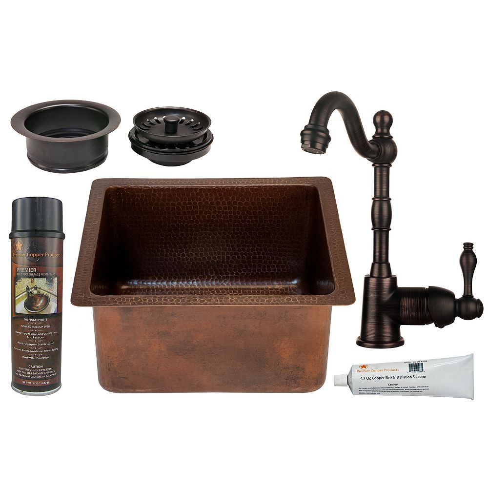 Premier Copper Products All-in-One 16 inch Rectangle Copper Bar Sink in ORB with 3.5 inch Garbage Disposal Drain Opening