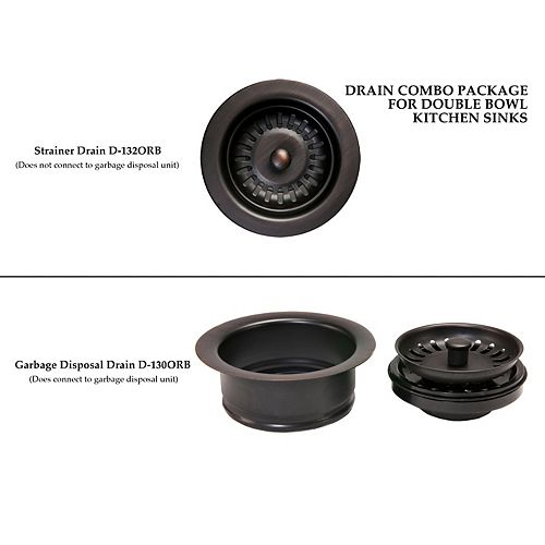 Drain Combination Package for Double Bowl Kitchen Sinks in Oil Rubbed Bronze