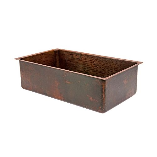 Premier Copper Products Dual Mount Copper 30 inch 0-Hole Single Bowl Kitchen Sink in Oil Rubbed Bronze