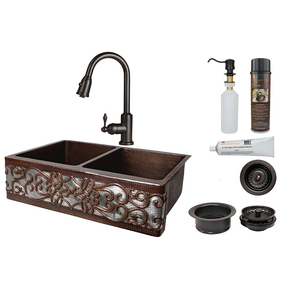 Premier Copper Products All-in-One Farmhouse/Apron-Front Copper 33 inch 0-Hole 50/50 Kitchen Scroll Apron Sink in ORB and NI