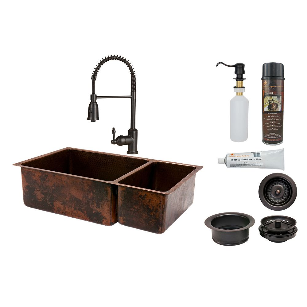 Premier Copper Products All-in-One Dual Mount Copper 33 inch 0-Hole Double Bowl 75/25 Kitchen Sink in Oil Rubbed Bronze