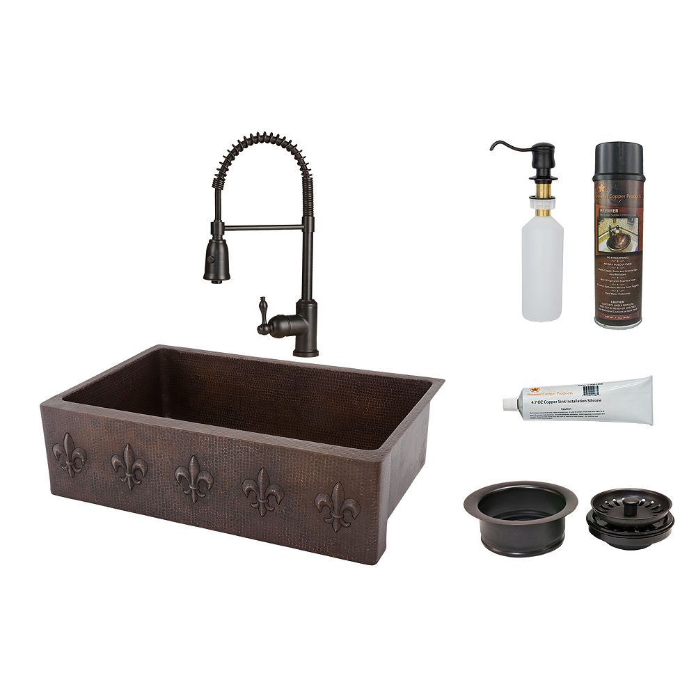 Premier Copper Products All-in-One Farmhouse/Apron-Front Copper 33 inch 0-Hole Kitchen Fleur De Lis Apron Sink in ORB