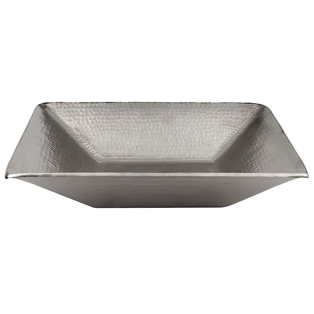 Premier Copper Products Modern Rectangle Hand Forged Old World Copper Vessel Sink in Nickel