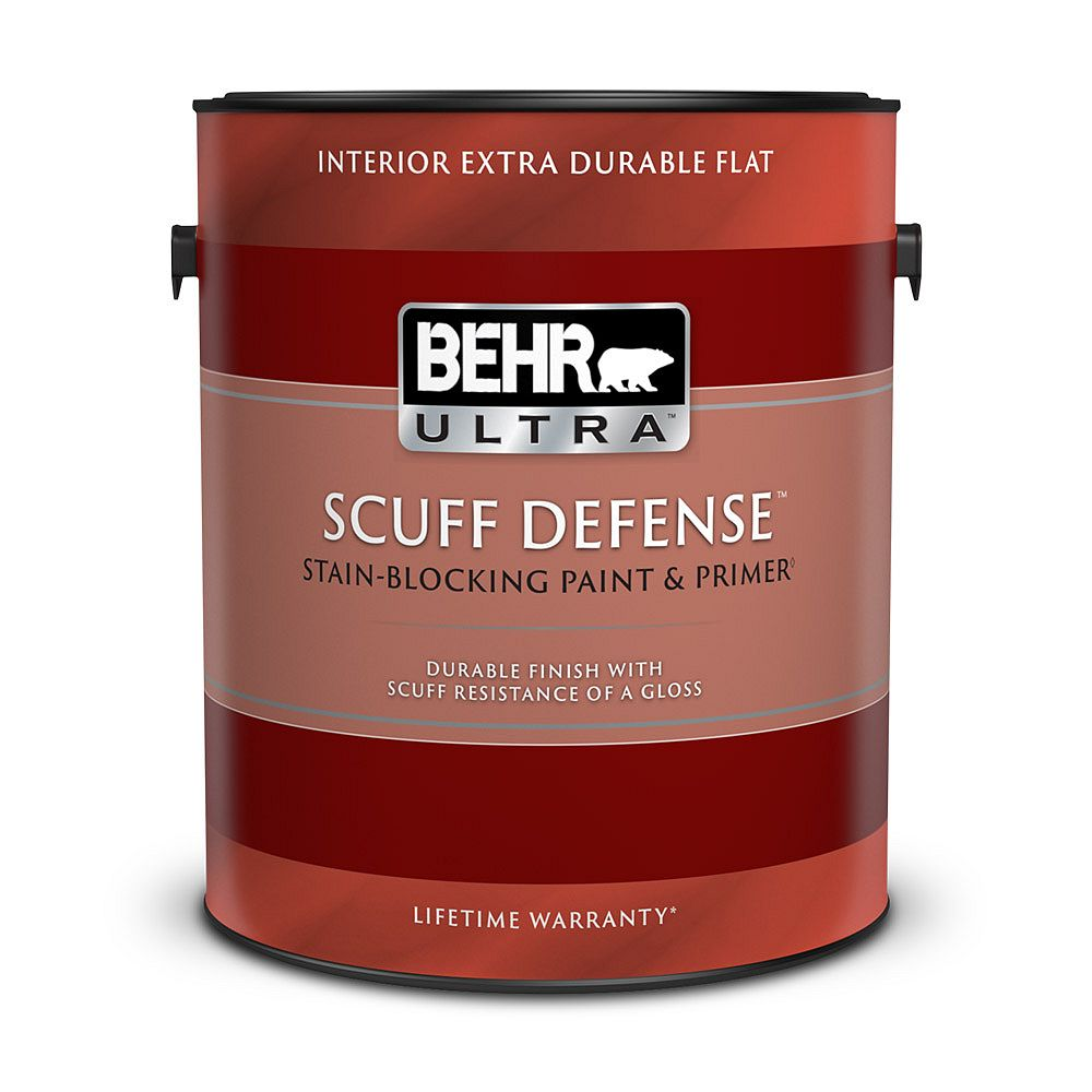 BEHR ULTRA Scuff Defense Interior Extra Durable Flat Paint & Primer in One in Ultra Pure White, 3.79 L
