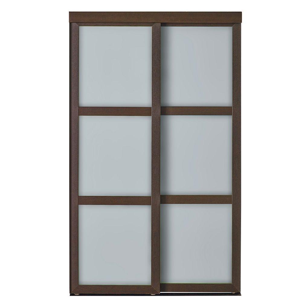 Indoor Studio Indoor Studio 3 Lite 48 in. x 80.5 in MDF Vinyl Frosted Glass Sliding Closet Door Mocha