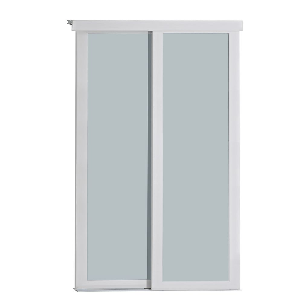 Indoor Studio Indoor Studio 1 Lite 72 in. x 80.5 in MDF Vinyl Frosted Glass Sliding Closet Door White