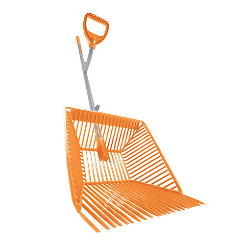 Steel Shaft Muck Scoop with Auto Sifting Fork Basket  22 Plastic Tines  54-inch Steel Shaft