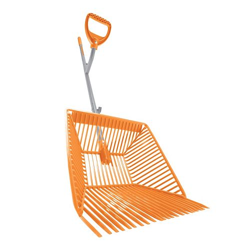 Ergieshovel Steel Shaft Muck Scoop with Auto Sifting Fork Basket  22 Plastic Tines  54-inch Steel Shaft