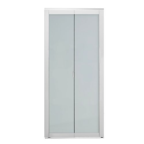 Indoor Studio 1 Lite 36 in. x 80.5 in. MDF Vinyl Frame Frosted Glass Bifold Closet Door White