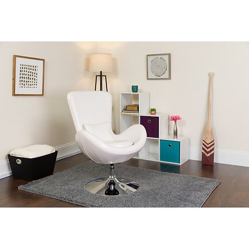 Egg Series White Leather Side Reception Chair